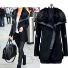 Winter Womens Warm Wool Fur Collar Long Coat Jacket Trench Outwear Overcoat