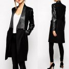 Casual Designer Contrast PU Leather Pockets Coat