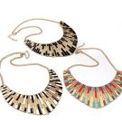 Multicolor Punk Shell Fan Shape Metal Collar Choker Statement Necklace