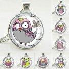 Cute Cartoon Owl Glass Cabochon Silver Long Chain Pendant Necklace