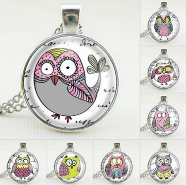 Cute Cartoon Owl Glass Cabochon Silver Long Chain Pendant Necklace