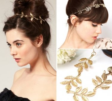 Hair Band Gold Alloy Branch Leaves Headbands Elastic Hair Accessories Jewelry