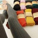 Women Girl Knit Pants Thick Tights Vertical Strip Skinny Leg Stretchable Step Foot Stocking Hosiery