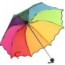 Multi Color Flouncing Dome Parasol Folding Sun/Rain/Wind Umbrella