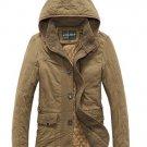 Men Winter Thicken Cotton-padded Jacket Zipper Hooded Coat