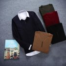 Winter Autumn Long-sleeve Colourful V Collar Men Pullover Slim Casual Sweaters