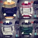 Winter Slim Round Neck Long-Sleeved Men Rhombus Printing Pullover Sweater