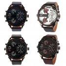 Big Dial 2 Time Zone Men Military Quartz Sport Leather Band Wrist Watch