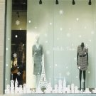 Eiffel Tower Christmas Snowflake Town Merry Christmas Wall Window Stickers