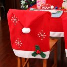 Christmas Snowflake Red Hat Chair Cover Kitchen Dinner Seat Back Cover Home Party Decor