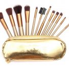 Professional Golden Makeup Brushes Set Eyebrow Shadow Brush with Leather 12Pcs