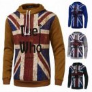 Men Fall Winter Cotton Polyester Union Flag Hoodie T-shirt Sweatershirt