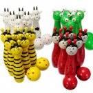 Wooden Bowling Ball Skittle Game Cute Animal Shape For Kids Children Toys Gift