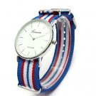 Casual Three Colors Stripe Canvas Band Women Men Analog Watch