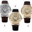 Casual Men Hollow Dial PU Leather Band Analog Quartz Wrist Watch