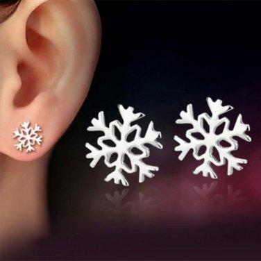 1 Pair Silver New Women Jewelry Girl Snow Flower Shape Stud Fashion Earrings