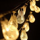 2M 20 LED Battery Powered Metal Raindrop String Light Home Wedding Party Christmas Decor