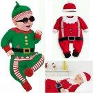 2Pcs Toddler Baby Boy Girl Kids Christmas Outfits Romper Hat Santa Set
