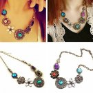 Bohemia Turquoise Crystal Flowers Bib Choker Statement Necklace