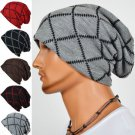 Male Knitted Slouch Beanie Hat Grid Twill Square Double Layer Elastic Outdoor Cap