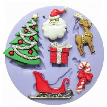 Christmas Silicone Fondant Cake Mold Christmas Tree Gift Deer Sled Mould