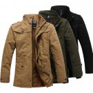 Mens Fashion Stand Collar Thick Warm Jacket Cotton Solid Colar Korean Style Trench Coat