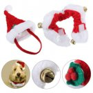 2pcs Christmas Pet Cat Dog Santa Hat Collar With Bell Christmas Costume Set