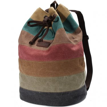 Stripe Canvas Backpack Casual Drawstring Rucksack Students School Bags Satchel