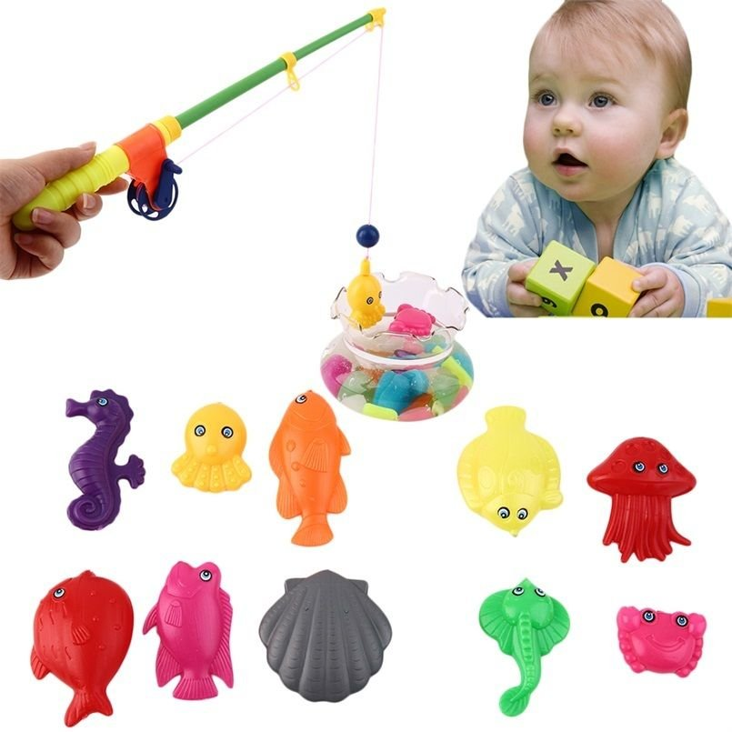 Kids magnetic fishing toy rod model net 10 fish for Toddler fishing pole toy