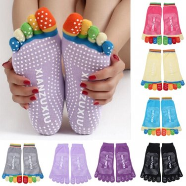 Colorful Five Finger Toe Yoga Non Anti Skid Slip Socks