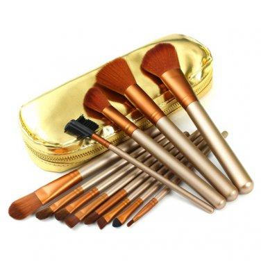 12Pcs Professional Makeup Brush Set with Zipper Leather Bag Kit
