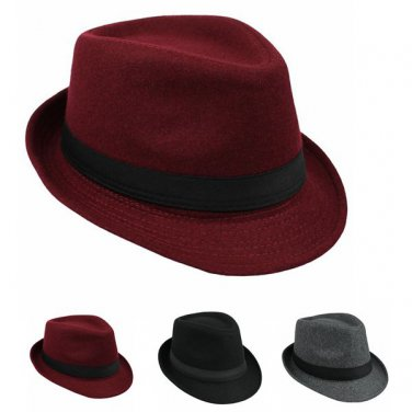 Unisex Hat Stylish Woolen British Gentleman Solid Brimmed Jazz