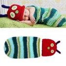 Newborn Baby Crochet Knit Photo Photography Prop Caterpillar Hat Costume Outfits