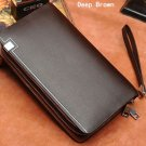 One Zipper Business Man-made Leather Portable Bag Wallet