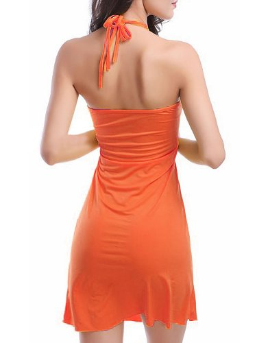 Women Mini Dress Solid Halter Backless Bikini Cover Up