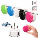 UK 2-Ports 5V Diamond USB Power Wall Travel Charger Adapter for Tablet
