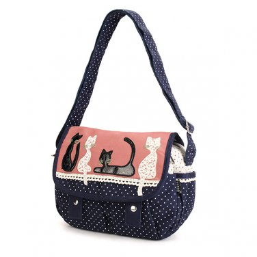 Women Cute Cat Canvas Polka Dot Shoulder Crossbody Bag