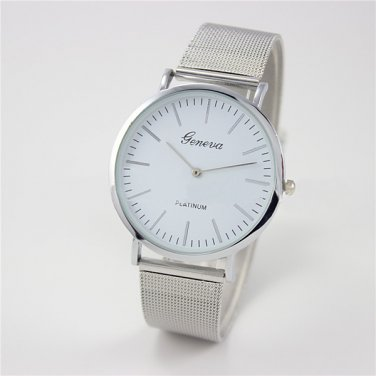 Unisex Ultra-Thin Stainless Steel Mesh Band Analog Quartz Watch