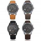 Men Military PU Leather Band Analog Quartz Sport Wrist Watch