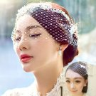 1pcs Bride Mesh Veil Handmade Pearl Face Coverage Short Wedding Hair Accessories