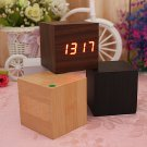 Voice Control Wooden Square LED Alarm Digital Desk Clock Thermometer Calendar