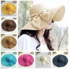 Summer Beach Hat Bow Foldable Wide Brim