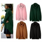 Knitted Women Tops High Neck Long Sleeve Sweater Loose