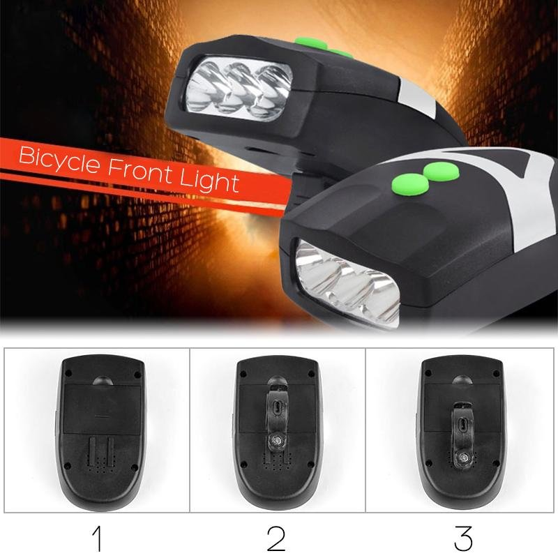 3 LED Bicycle Front Light With Horn Bell