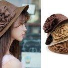 Women Summer Ruffle Flower Side Flip Bucket Cloche Beach Straw Hat