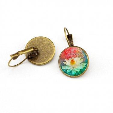 Ladies Vintage Round Crystal Glass Flower Hoop Stud Earrings Jewelry