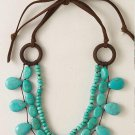 garlicfashion special elegant women fashion Cortez turquoise & suede necklace
