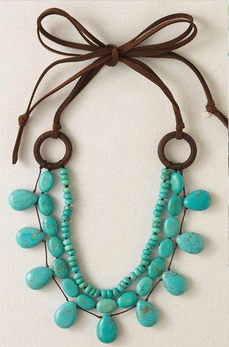 garlicfashion special elegant women fashion Cortez turquoise & suede necklace