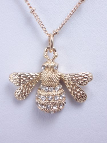 garlicfashion special elegant women fashion pave Bee pendant necklace