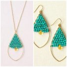 garlicfashion special elegant women fashion Goa turquoise pendant necklace earrings set